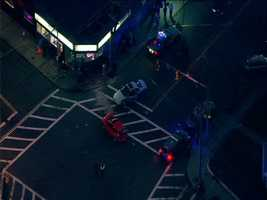 Sky 5 flew overthe intersection of Boston and Franklin streets in Lynn, where witnesses said the suspect slammed into at least one car.