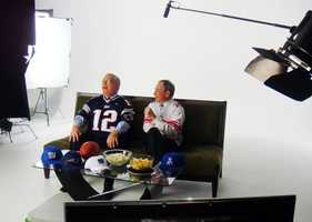 In this photo taken on, Jan. 31, 2012, Boston Mayor Thomas Menino, left, and New York Mayor Michael Bloomberg record an advertisement to appear during the Super Bowl. While the mayors joke about the New England Patriots and New York Giants rivalry, they use the ad to publicize for the work of their coalition, Mayors Against Illegal Guns.