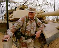 """Gen. H. Norman Schwarzkopf commanded the U.S.-led international coalition that drove Saddam Hussein's forces out of Kuwait in 1991. A much-decorated combat soldier in Vietnam, Schwarzkopf was known popularly as """"Stormin' Norman"""" for a notoriously explosive temper.(August 22, 1934 – December 27, 2012)"""