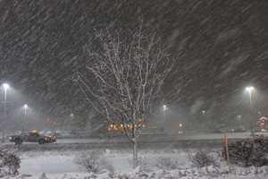 A look at the heavy snow falling in a parking lot in Walpole.