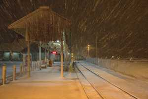 An empty train platform Saturday night in Stoughton.