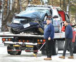 A state police cruiser crashed into a utility pole in West Bridgewater on Monday morning.