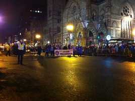 Hundreds of thousands of people packed downtown Boston on New Year's Eve to ring in 2013 for the city's 37th annual First Night.