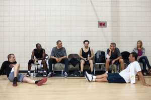May 11, 2012 After some early morning basketball in Los Angeles, the President talks with the players who included actors Don Cheadle, Tobey Maguire, and George Clooney, along with two of Clooney's long-time friends. Stacy Keibler is also at right.