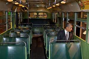 April 18, 2012 -- We were doing an event at the Henry Ford Museum in Dearborn, Mich. Before speaking, the President was looking at some of the automobiles and exhibits adjacent to the event, and before I knew what was happening he walked onto the famed Rosa Parks bus. He sat in one of the seats, looking out the window for only a few seconds.