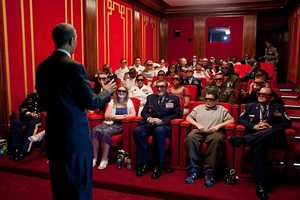 May 25, 2012 The President was welcoming service members and their families to a screening of 'Men in Black 3' in the White House Family Theater. The movie was being presented in 3D, so the President jokingly asked them to try on their 3D glasses while he was speaking to them.