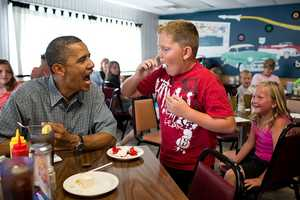 July 5, 2012 Anyone want to try a piece of my strawberry pie,' the President asked those at adjacent tables during a stop for lunch at Kozy Corners restaurant in Oak Harbor, Ohio. A young boy said yes and came over for a big bite of pie.