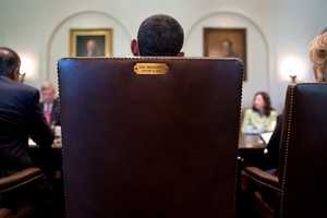 July 26, 2012 - A view from behind the President's chair during a Cabinet meeting in the Cabinet Room.