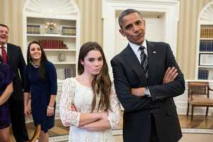 Nov. 15, 2012 The President had just met with the U.S. Olympics gymnastics team, who because of a previous commitment had missed the ceremony earlier in the year with the entire U.S. Olympic team. The President suggested to McKayla Maroney that they recreate her 'not impressed' photograph before they departed.