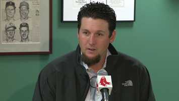New Boston Red Sox closer Joel Hanrahan was in Boston Tuesday, getting a tour of the ballpark where he hopes he will be closing dozens of games.