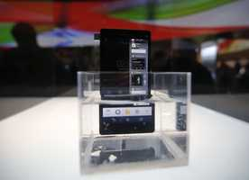 Sony's new Xperia Z smartphone is displayed in water.