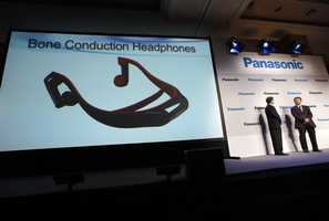 Headphones connect to a TV via the Bluetooth wireless standard and attach to your head like a normal set of headphones. But instead of using your ears, the headphones work like hearing aids by transmitting sound waves through your skull.