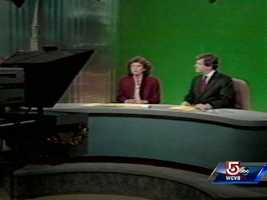 Natalie Jacobson and Chet Curtis anchoring the news in the early years of their tenure as New England's dominant news anchor team.
