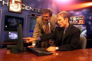 David, seen here with WCVB's Dick Albert, says he always wanted to be a meteorologist.