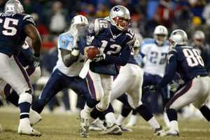 Win #04 - After missing out on the postseason in the 2002 season, Tom Brady and the Patriots returned in 2004.  In one of the coldest games in NFL history, with temperatures reaching 4°F, the Patriots survived both the cold and NFL co-MVP Steve McNair, relying on yet another game-winning field goal from kicker Adam Vinatieri late in the fourth quarter and a key defensive stand. Final score was 17-14.