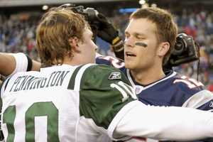 Win #11 - Tom Brady completed 22 out of 34 passes for 212 yards and two touchdowns, while New England Patriots running backs Corey Dillon, Laurence Maroney, and Kevin Faulk combined for 145 rushing yards in a 37-16 win over the New York Jets.