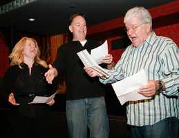In this November 2011 photo, rehearsals were held at Suffolk University's Modern Theater in preparation for Serious Fun: A Political Party. Pictured are Lauren Beckham Falcone of WROR, Michael Graham of WTKK and Chet Curtis.
