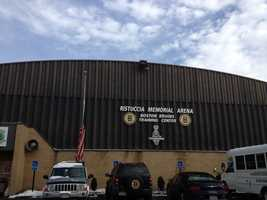 The outside of Ristuccia Memorial Arena, where the Boston Bruins Practice.