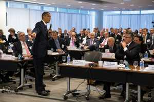 President Barack Obama takes questions from business leaders at the quarterly meeting of the Business Roundtable at the BRT in Washington, D.C., Dec. 5, 2012.
