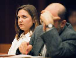 Woodward listens to proceedings on March 7, 1997. She is charged with first degree murder in the death of 9-month-old Matthew Eappen.