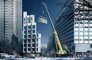 The building will be the first multi-family building in Manhattan to use prefab construction, and the building is short enough that the prefab modules, will essentially snap together.
