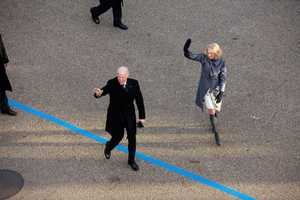 Vice President Joe Biden and Dr. Jill Biden walk in the inaugural parade along Pennsylvania Avenue in Washington, D.C., Jan. 21, 2013.
