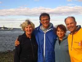 Harvey says he was most influenced by his wife and parents. Harvey and his wife, Lorraine, are pictured here with longtime WCVB meteorologist Dick Albert and his wife, Mary Ann.