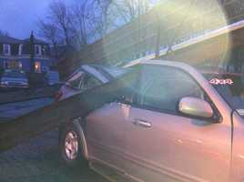 At least two vehicles were damaged.
