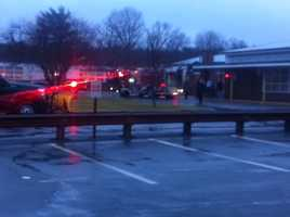 The Merrill Middle School was damaged in Raynham.