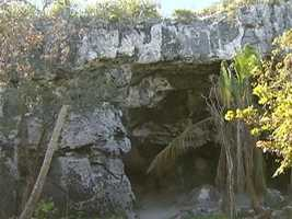 Survivors of the 1648 shipwreck found shelter in this nearby, natural cave.