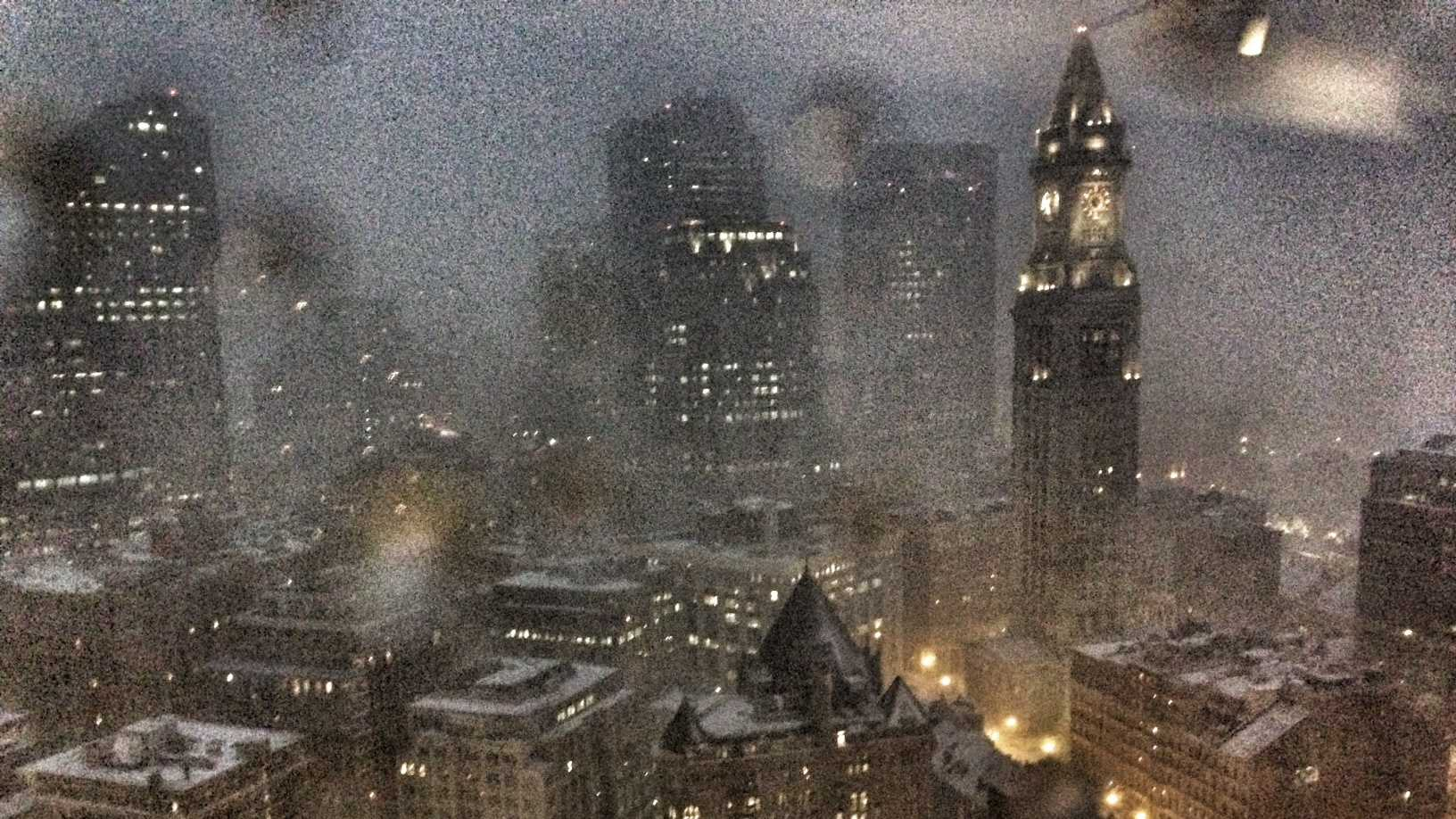 Boston skyline during blizzard