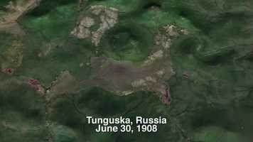 This is an overhead satellite shot of the area of impact in the northern region of Russia.