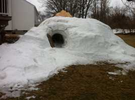 A Worcester State University student has been working for months on a fully functional igloo in his family home.