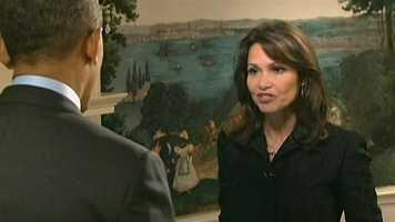 Liz interviewed President Obama in an exclusive interview in February 2013