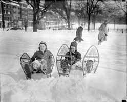 8) February 1916 - 30.3 inchesTwo big storms provided Boston with much of the snowfall for the month. Pictured here are two girls enjoying the fresh snowfall in Boston Common. Photos are for illustrative purposes only and do not always reflect the actual snow event.