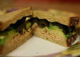 LUNCH Tuna salad sandwich: 2 slices rye bread 2 ounces tuna 1 Tbsp mayonnaise 1 Tbsp chopped celery ½ cup shredded lettuce