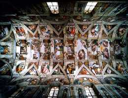 Michelangelo lay on scaffolding while he painted the ceiling of the Sistine Chapel.
