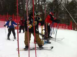 The race features five-person teams that compete on an easy dual-slalom course.