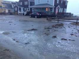 Flooding on some coastal roads in Scituate