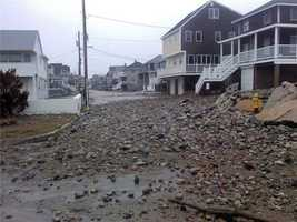 Rebecca Rd near Scituate Light. 3 hours after high tide.