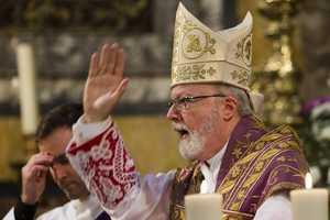 March 10, 2013. O'Malley celebrates Mass in Italian at Santa Maria della Vittoria in Rome.
