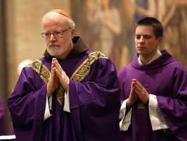 Cardinal Sean O'Malley celebrating Mass on March 11, 2013 for the seminarians at the North American College in Rome before joining fellow Cardinals in briefings.
