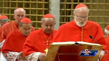 Cardinal Sean O'Malley takes the oath of secrecy, as the conclave to elect a new pope begins on March 12, 2013.