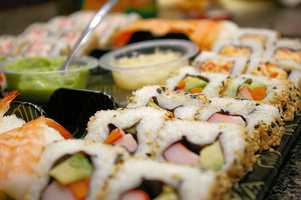 If you are thinking that sushi is a lighter lunch option, you may want to think again!