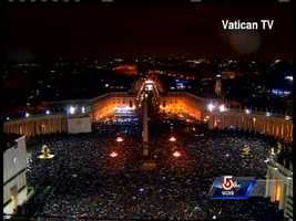 "Tens of thousands of people who braved cold rain to watch the smokestack atop the Sistine Chapel jumped in joy when white smoke poured out, many shouting ""Habemus Papam!"" or ""We have a pope!"""