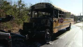A school bus caught on fire Wednesday afternoon while it was filled with middle school students on the Cape.