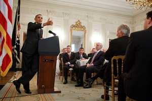 President Barack Obama delivers remarks during a meeting with the National Governors Association in the State Dining Room of the White House, Feb. 25, 2013.