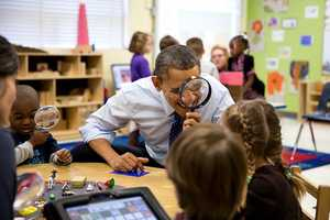 President Barack Obama visits a pre-kindergarten classroom at the College Heights Early Childhood Learning Center in Decatur, Ga., Feb. 14, 2013.