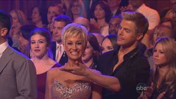 """First on the dance floor,Kellie Pickler & Derek Hough, dancing the Cha-Cha-Cha to """"Domino"""" by Jessie J."""