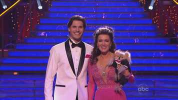 """Up next, reality star Lisa Vanderpump & Gleb Savchenko, dancing the Foxtrot to """"Ac-Cent-Tchu-Ate the Positive"""" by Aretha Franklin."""